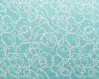 Turquoise cotton fabric, Aqua green fabric with white bubble print