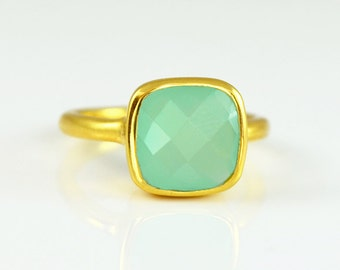 Aqua Blue Chalcedony Ring - Gemstone Ring - Stacking Ring - Gold Ring - Cushion Cut Ring - March Birthstone ring - Bezel set ring - Seafoam
