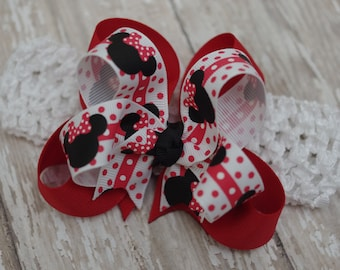 Minnie Boutique Headband  Infant/Toddler Bowband Red & Black