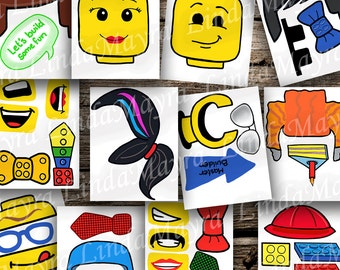 Lego inspired DIY Photo booth Props digital download
