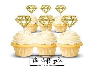 Diamond Cupcake Toppers (set of 12), Cupcake Toppers, Engagement Party, Wedding, Bridal Shower, Toppers, Diamond, Wedding Cupcake, Bride