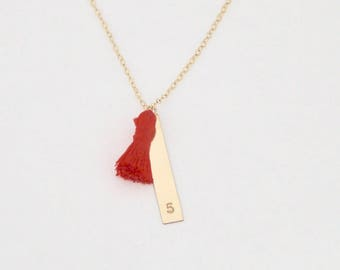 necklace // 14k gold filled vertical bar and tiny tassel with customized initial(s), name, letters, numbers, date stamped engraved on 14k go
