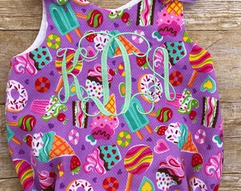Monogrammed, Candy theme, Sweets,Sweet,Girl, Girl Bubble, Baby, Birthday outfit, with Bows