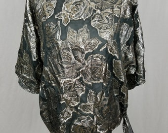 Vintage Teddi Of California Black Silver Rose Floral Women's Blouse 70s 80s - Size Large