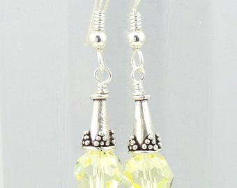 Pale Yellow Swarovski Crystal & Sterling Silver Earrings