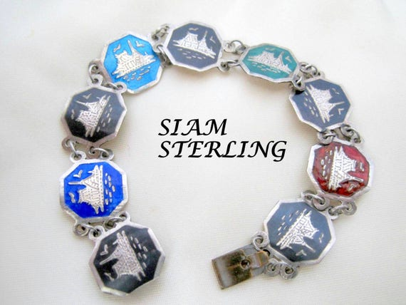 Sterling Silver Bracelet, Signed Siam Sterling, Colorful Enamel Links