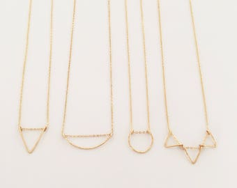 Tiny Geometric Necklace - circle, triangle or arc