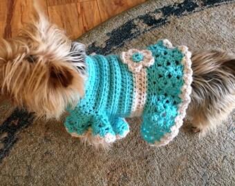 Dog sweater, dog sun dress, crochet dog sweater, puppy dress, dog chothes, girly dog sweater, girl dog sweater, animal clothes, dog shirt