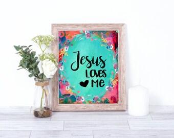 Jesus Loves Me, Wall Art, Home Decor, Instant Download, Minimalist Art, Floral, Kid, Nursery, Children,Bible, Love, Inspirational, Printable