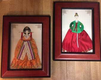 Japanese Women In Satin And Gem Like Studded Framed Pictures  Made From Cards