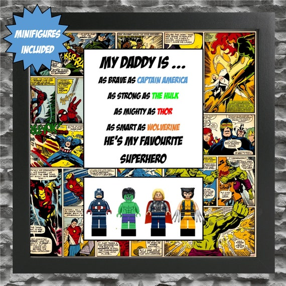 Marvel Fathers Minifigure Frame, Mum, Gift, Geek, Box, Personalised, Dad, Idea, Birthday, Anniversary, For Him, Comic, Fathers Day,