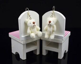 White teddy bear earrings, miniature soft toy with silver hook, dangle earrings