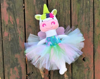 Unicorn Plush - Tutu - Unicorn Softie - Unicorn Doll - Handmade - Stuffed Animal - Christmas Gift - Gift for Girls