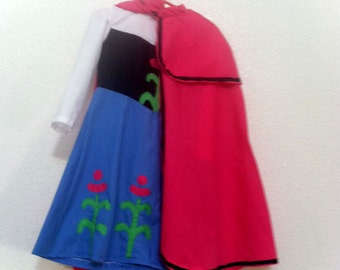 Princess Anna of Arendelle from Frozen Dress and Cape Child's Anna Dress size 8-12