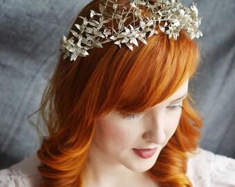 Tiara Silver, Antique Silver Myrtle Tiara with Corsage, Silver German Wedding Crown, Victorian Silver Leaf Headpiece, Bridal Tiara, Corsage