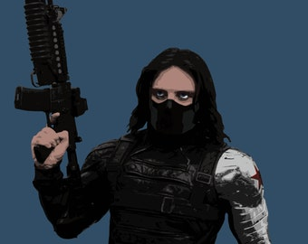 Marvel Sebastian Stan Bucky Barnes Winter Soldier Stylised Poster