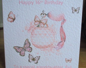 Personalised Handmade Pink Perfume Bottle & Butterflies Birthday Card Any Relation Any Age