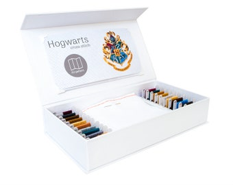 Hogwarts Cross Stitch Kit, Stitchering Box, Modern Cross Stitch Kit, Organized Materials of Premium Quality, For Beginners and Experienced