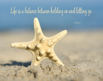 Inspirational her, motivational gifts for women, life is a balance Rumi quote wall art, large starfish photography print, beach wall decor,
