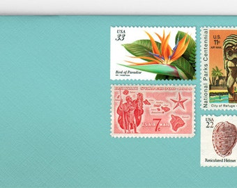 Posts (5) 2 oz wedding invitations - Tropical unused vintage postage stamp sets (2 ounce 71 cent rate)