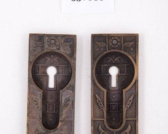 Antique Bronze Keyed Pocket Door Pulls