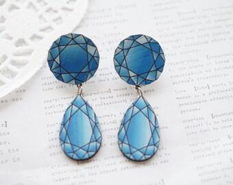 Blue Wooden Laser Cut Faux Diamond Dangle Earrings