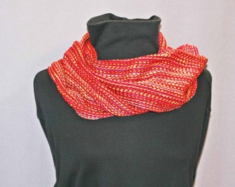 Red and pink handwoven cotton and silk scarf, hand woven red silk scarf