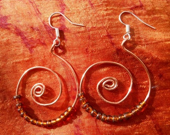 Spiral copper wirework earrings with beads