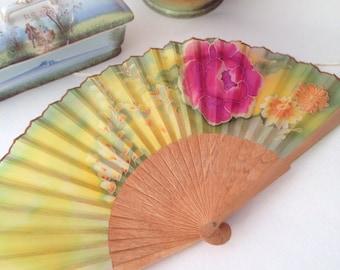 Silk hand fan, Hand painted hand fan, Hand made hand fan, Bridal hand fan, Wedding hand fan, Gift hand fan, Wooden hand fan OOAK