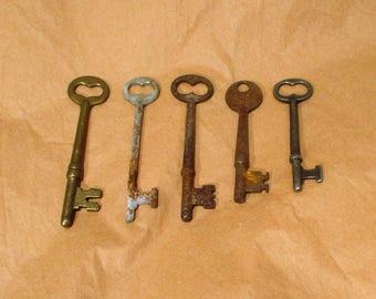 Skeleton Keys, Antique Collection of 5, Old Skeleton Keys