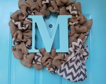 Everyday Chevron Burlap Wreath