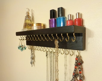 30 COLOR / FINISH CHOICES - Jewelry / Necklace Organizer - Jewelry Holder  -  Wall Mounted - With A Shelf - 31 Jewelry Hooks