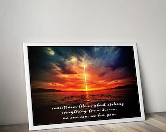"""Typographic Print Wall Art """"Sometines Life is about risking"""" - Inspirational Quote - Office print, Quote Poster - Instant Download PDF file"""
