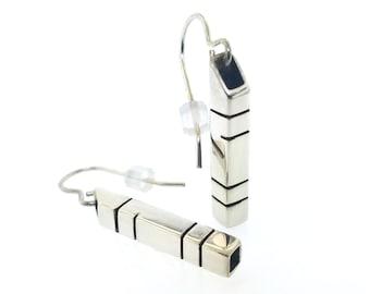 Sterling Silver Minimalist Modern Alternating Line Pattern Dangle Drop Earrings, Simple and Sleek Vintage Style