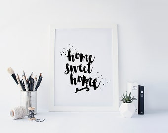 "PRINTABLE Art ""Home Sweet Home"" Typography Art Print Black and White Typography Poster Be our Guest Welcome Sign"