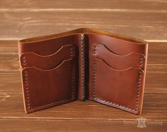 Small leather wallet Men's Leather wallet Bifold Brown small wallet Simple wallet Gift for boyfriend Gift for father Small mens wallet