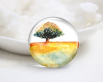 10mm 12mm 14mm 16mm 18mm 20mm 25mm 30mm Handmade Round Photo Glass Cabochons Cover-Tree (P1301)