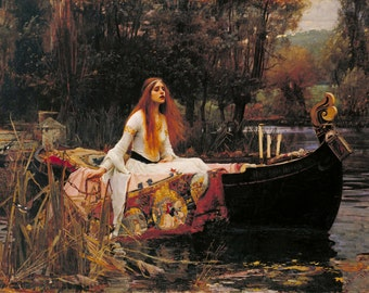 John William Waterhouse : The Lady of Shalott (1888) Canvas Gallery Wrapped Giclee Wall Art Print (D45)