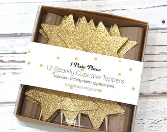 Gold Star Cupcake Toppers - Set of 12 - Gold or Silver Glitter