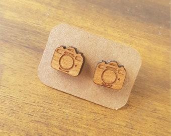 Laser cut wood camera earrings