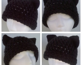 Cat hat pattern, adult cat hat, crochet cat hat pattern, black cat hat, women cat hat, kitty ears hat pattern, black cat ears cosplay