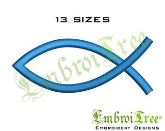 Christian Fish Embroidery Design Machine Embroidery Jesus Fish Embroidery Download Religious Embroidery File Ichthys Fish Symbol Embroidery