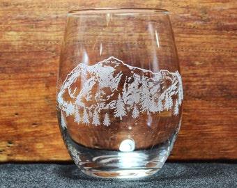 Mt. Shuksan Hand-Engraved Stemless Wine glass