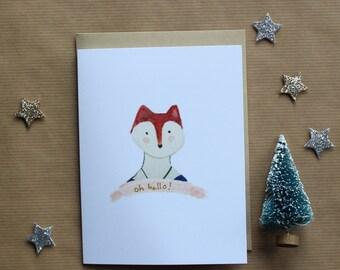 Watercolor Lady Fox Card