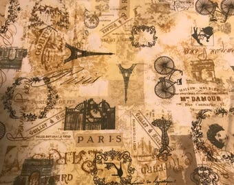 "Paris Eifel Tower Floral Cotton Fabric By the Yard  43"" Wide"