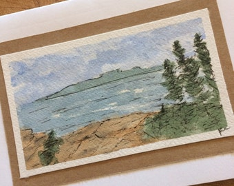 Original Watercolor Card, One Of A Kind, Coastal Scene, Art Card, Thinking Of You, Birthday Card, special Occasion Card, Watercolor Art,