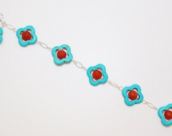 Turquoise and Red Agate Sterling Silver Bracelet