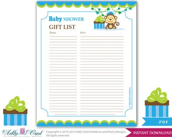 Boy Monkey Guest Gift List , Guest Sign In Sheet Card For Baby Shower ...