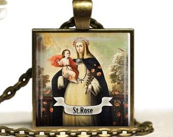 St Rose of Lima  Necklace  Catholic Saint Rose Jewelry