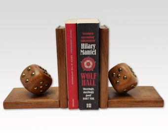 Vintage Dice Book Ends - Bookends- Wooden- Hand Carved - Mid-Century Modern